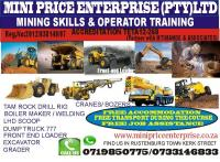 Boiler maker course,machine training drill rig,lhd scoop, call +27719850775