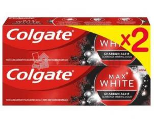 Lot de 2 - colgate dentifrice max white charbon 2x75ml