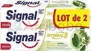 Lot de 2 dentifrices integral 8 herbal soin gencives signal