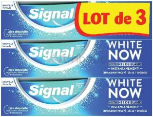 Lot de 3 dentifrices blancheur signal white now + 1 teinte de blanc