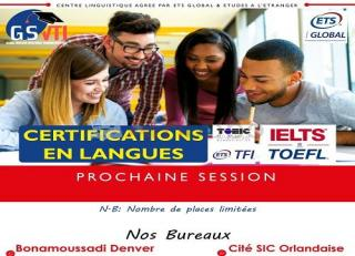 Certifications en Langues TOEFL/IELTS, TOIEC, TFI