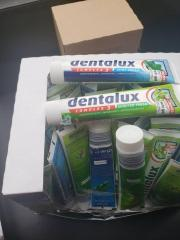 Large stock of dentalux toothpaste with expiring date in 2023