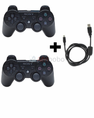 Pack de 02 manettes ps3 + 01 cordon de recharge
