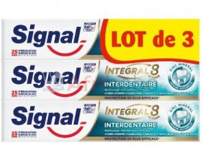 Lot de 3 dentifrice signal integral 8 interdentaire 75ml