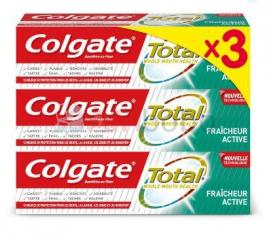 Lot de 3 dentifrices colgate total fraîcheur active - tube de 75ml