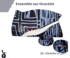 Ensemble bracelets+sac en tissus traditionnel