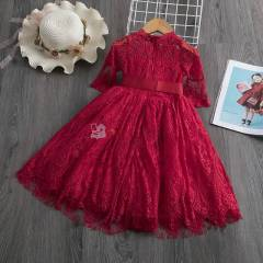 Robe fillette manche 3/4 rouge