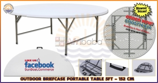 5 ft portable round briefcase table - 152 cm