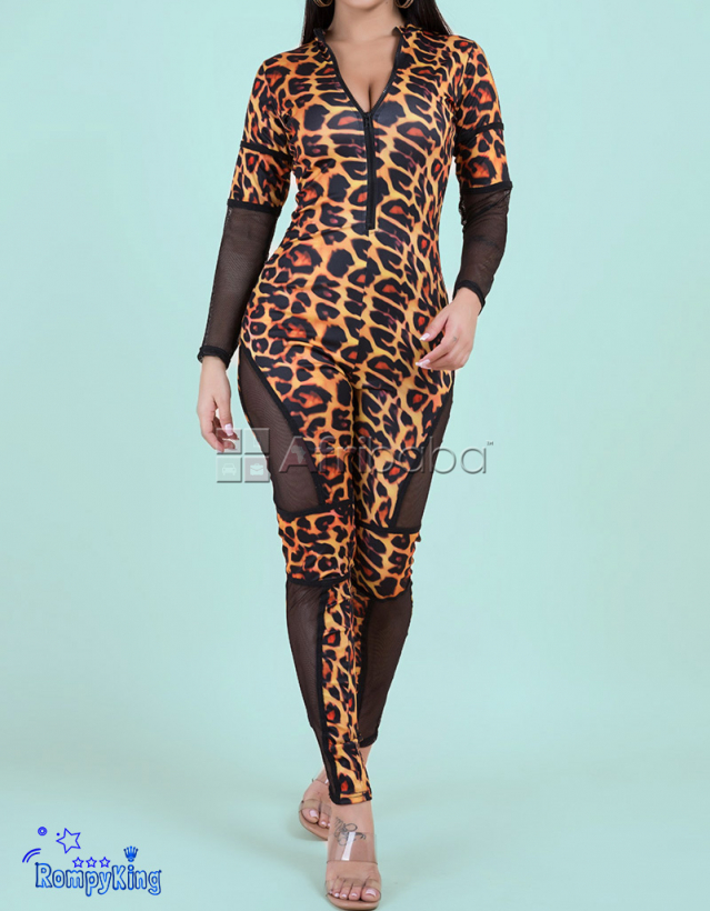 Fashion RK Zip-Up Tight Stretch Leopard Jumpsuits-Parties-Events-Clubs #1