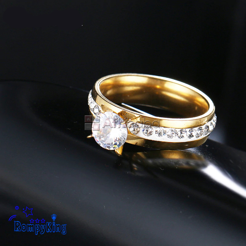Round Silver,Gold Stainless Steel Proposal-Wedding-Engagement #1