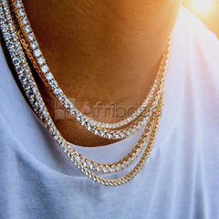 1 Row Iced Out Tennis Chains/Necklaces-Shinny Iced Gold,Silver Chains