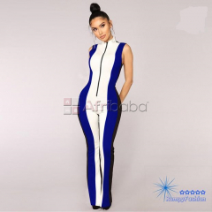 Sexy Casual Colorblock Sleeveless,Mock Jumpsuits