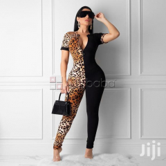 RK Double Trouble Zip-Up Stretch Leopard Jumpsuits-Party-Events-clubs #1