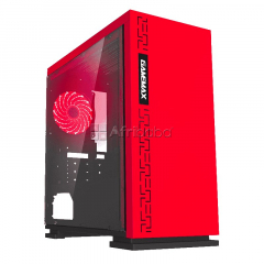 Red micro atx gaming computer casing expedition h605