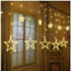 Warm white curtain light with 6 small stars(10cm) & 6 big stars (20cm)