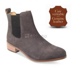 Bottines cuir gris