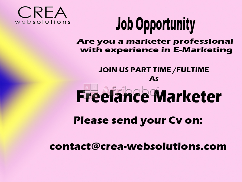 Job Opportunity  Part-time /Full-time as Freelancer in Marketing