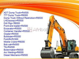 TLB dump truck excavator grader mobile crane machines training school.
