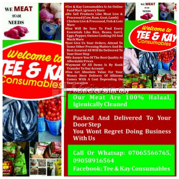 We sell food items @ tee & kay consumables (meat ,chicken, fish, etc) #1