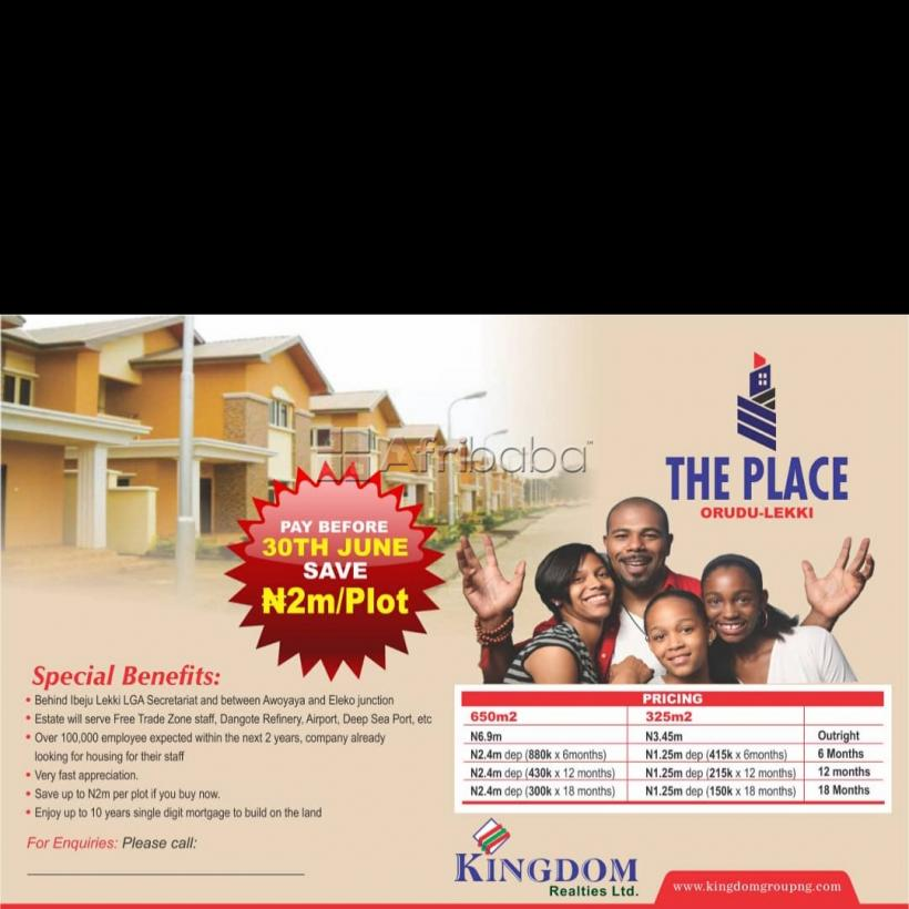 Own a residential land at the place, orudu lekki