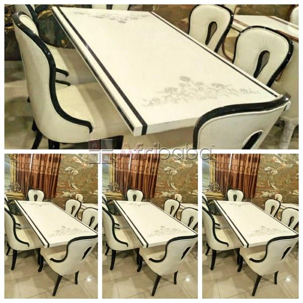 Marble dining table and 6 chairs set