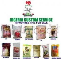 Impounded bags  of rice 50kg and groundnut oil 25 litres