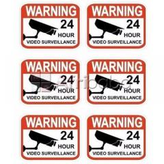 Set of 6 professional popular video surveillance stickers sign by hiphen