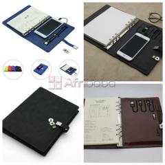 Notebook diary with 6000mah power bank and 8gb flash drive