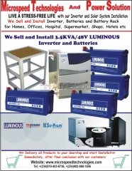 We Sell and Install 3.5KVA/48v Luminous Inverters and Batteries