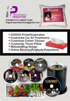 CD Prints, Car Air Freshener, Carton Tissue,Throw Pillows, Flyer, Keyholder