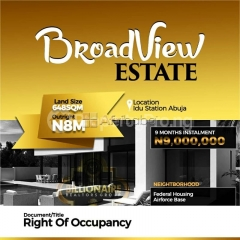 Lands for sale at  broadview estate, idu, abuja (call   )