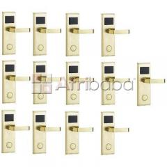 Door lock with rfid card access control - gold - 13 set