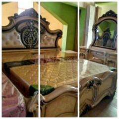 Order your royal bed 200×180 with mirror dresser and 2 night stand dra