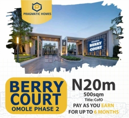 Own your land at berry court, omole phase 2 extension