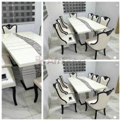 Order Your Dining by 8 Marble Top with Wooden Chair (Delivery Included