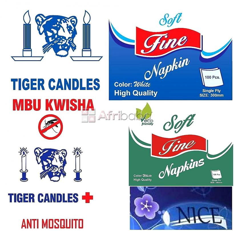 Tiger candles / fine napkins / nice tissues