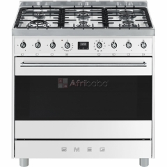 Smeg 90cm Silver Stainless Steel 6 Burner Gas Hob/Electric Stove.
