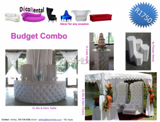 Furniture Hire - Birthdays, weddings, Anniversaries, Matric Balls etc.