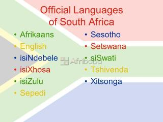 english to south african languages translation