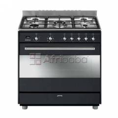 Smeg 90cm 5 burner black gas/electric stove - ssa91maa9