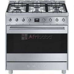 Smeg 90cm silver stainless steel 6 burner gas hob/electric stove - c9m