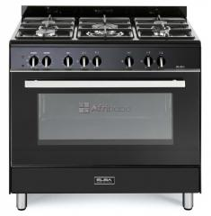 Elba 90cm 5 burner gas stove/electric oven black - 9cx827bn
