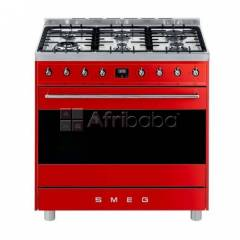 Smeg 90cm red symphony 6 burner gas hob cooker / electric oven - c9mar